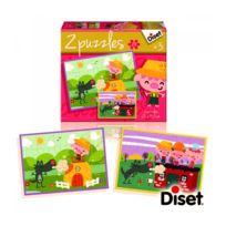 Diset - Puzzle 2 x 20 pièces : Puzzles contes : Les trois petits cochons