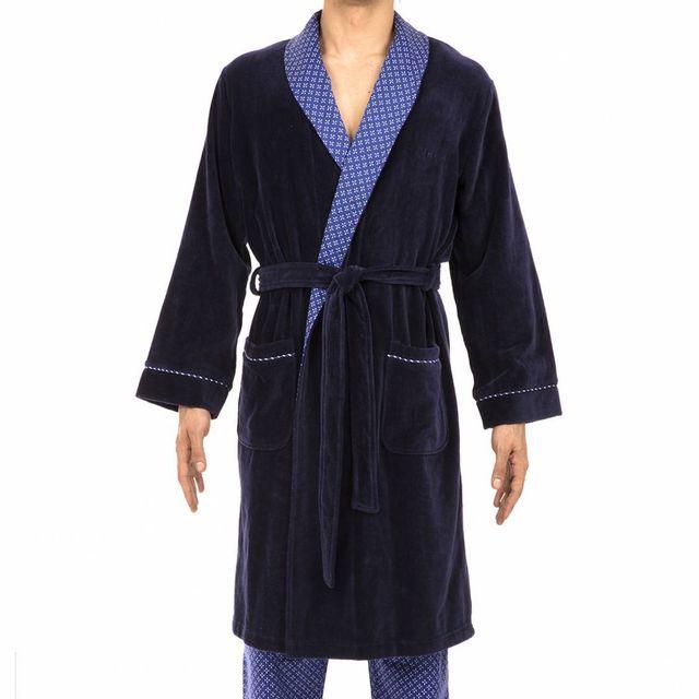 29fff5d68ae6 Hom - Peignoir de bain Hom en coton bleu marine à col châle bleu à petites