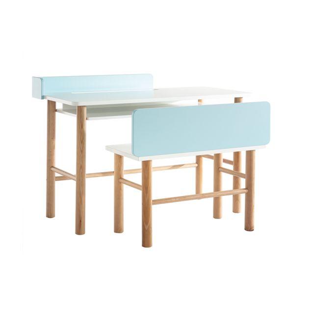Miliboo Bureau enfant avec banc bleu et bois clair Berty