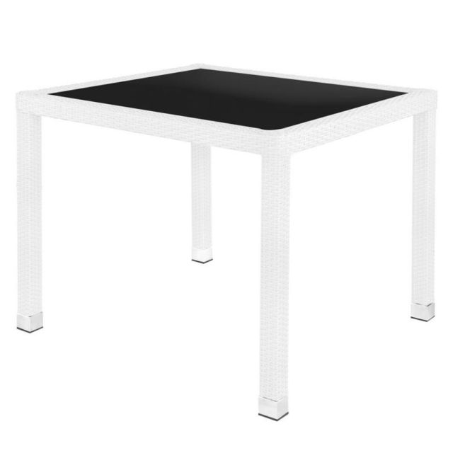 Tousmesmeubles Table de repas carrée Rotin blanc/Verre - Baros