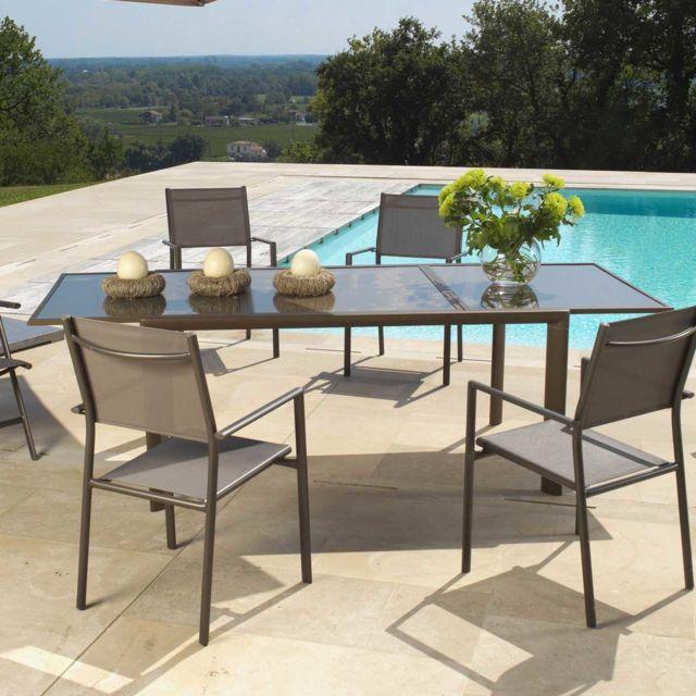 Proloisirs - Table de jardin Aluminium plateau verre 160/230x100cm ...