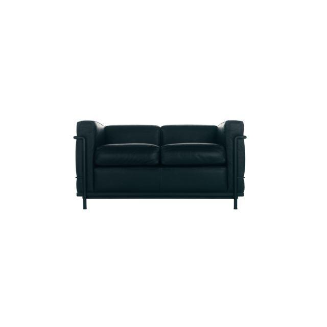 CASSINA Canapé LC 2 - cuir noir - noir