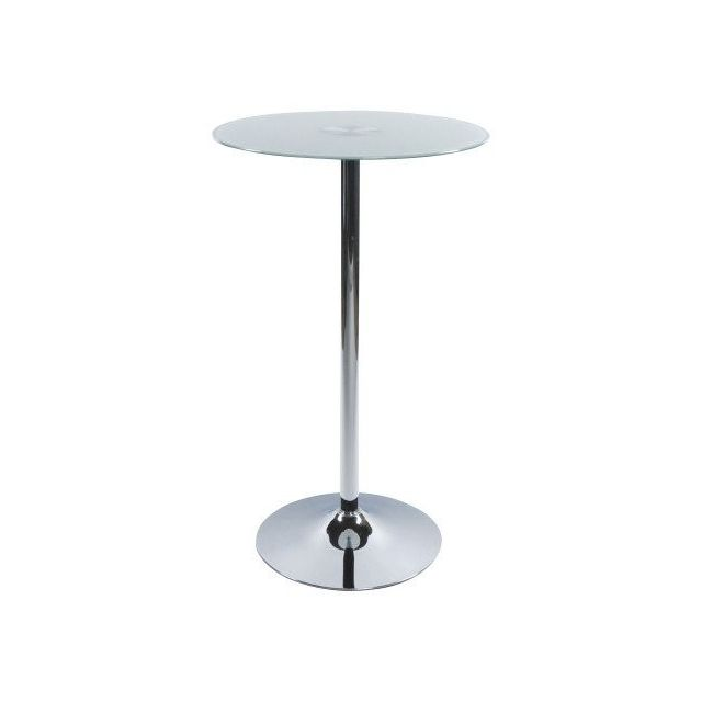 Decodesign Table Haute Bar Beno Mange Debout Verre Blanc 65cm X