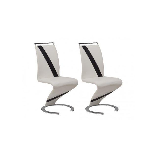 Lot de 2 chaises TWIZY Simili blanc & noir