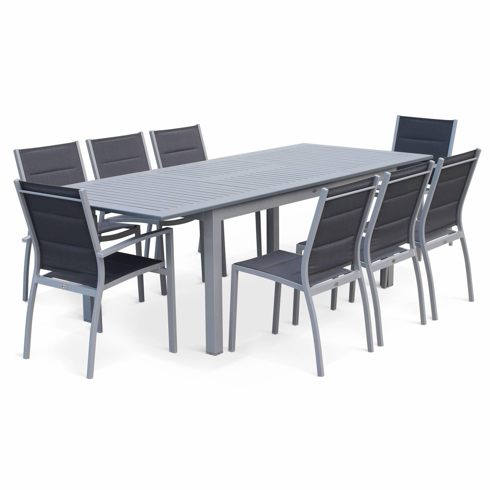 Chicago Gris foncé structure grise - Salon de jardin 8 places table à rallonge extensible 175/245cm alu gris textilène gris