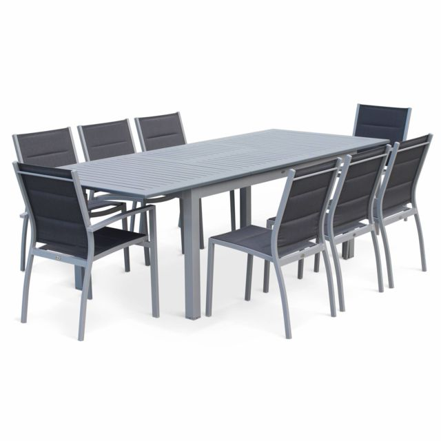 Salon de jardin table extensible - Chicago Gris - Table en aluminium  175/245cm avec rallonge et 8 assises en textilène
