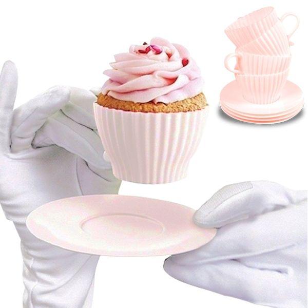 Totalcadeau 4 moules à muffin silicone en forme de tasse mug 4 sous-tasses