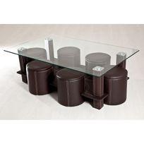 Topdeco - Table basse + 6 poufs marron