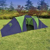 CASASMART - Tente 3 compartiments 9 personnes bleue et verte
