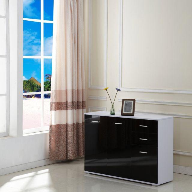 HOMCOM Armoire de rangement commode chambre/salon avec 2 tiroirs +2 coffrets latérals mdf 106x76x35cm noir 70