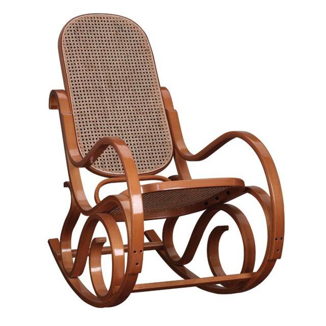 Tousmesmeubles Rocking Chair teinte Miel - Country - L 53,5 x l 92 x H 94