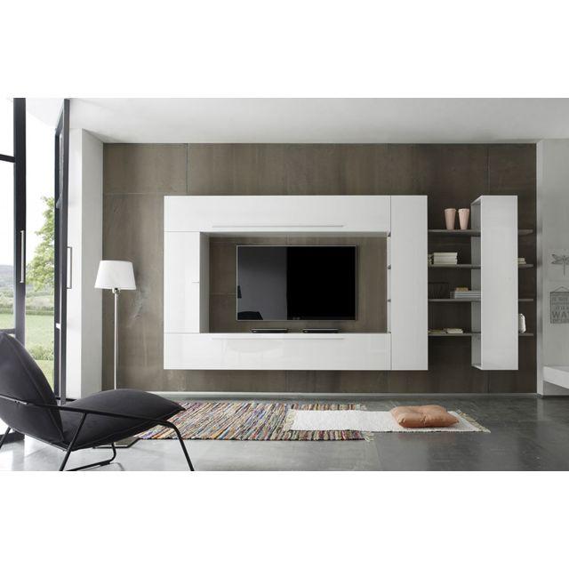 Kasalinea Ensemble meuble Tv blanc laqué et chêne gris contemporain Filipa