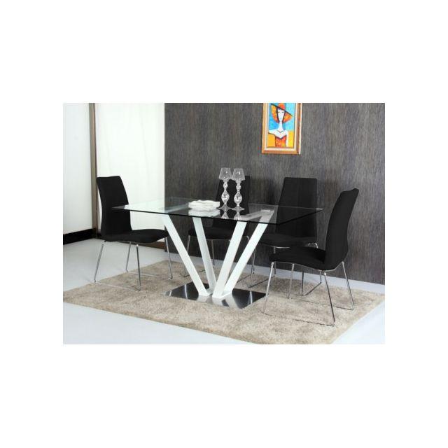 Marque generique table manger cleonice 6 couverts verre tremp et acier blanc pas for Carrefour table a manger