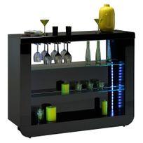 Comforium - Meuble bar noir laqué design Led