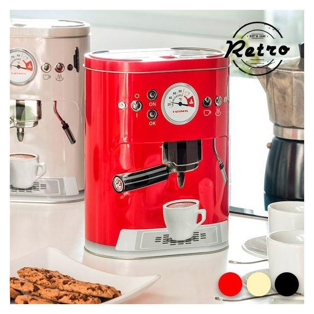 Totalcadeau Boîte de rangement métallique Vintage café Couleur - Rouge