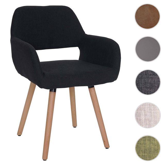 Mendler Chaise de salle à manger Altena Ii, fauteuil, design rétro des années 50 ~ tissu, noir
