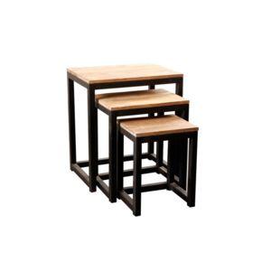 miliboo tables gigognes en bois et acier industrielles factory lot de 3 pas cher achat. Black Bedroom Furniture Sets. Home Design Ideas