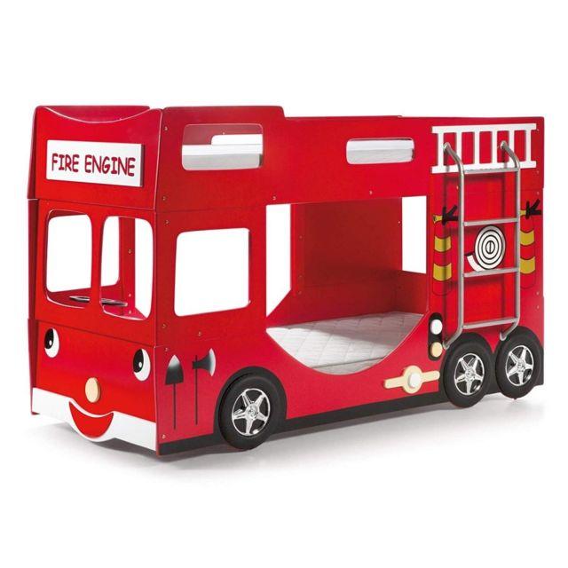 VIPACK Funbeds Lit Pompier Superpos et Rouge MDF Rouge 211 x 96 x 130 cm