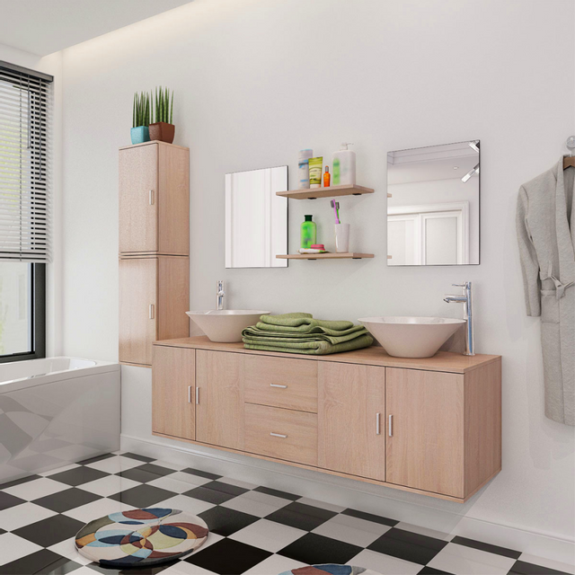 Vidaxl 9 pi ces de mobilier salle bain et lavabo beige - Mobilier de salle de bain pas cher ...