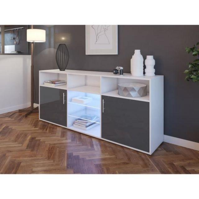 BUFFET - BAHUT - ENFILADE KORA Buffet bas avec LED contemporain gris brillant et blanc mat - L 180 cm