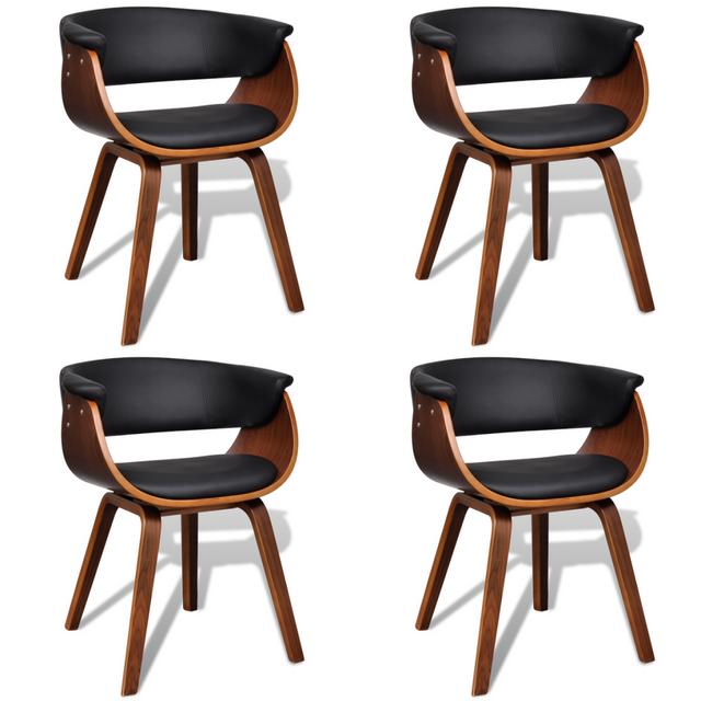 Chaise de salle à manger 4 pcs Cadre en bois Cuir synthétique