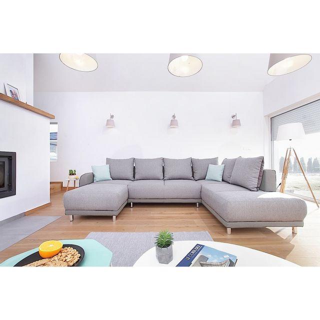 BOBOCHIC Canapé d'angle convertible Minty Panoramique Droit tissu gris clair