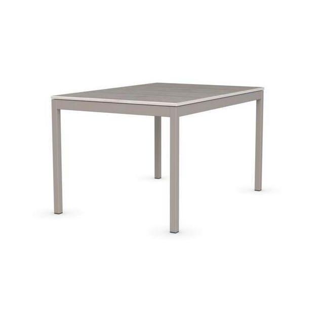 Inside 75 Table extensible Snap deco perle piétement laqué grège 130x90 cm