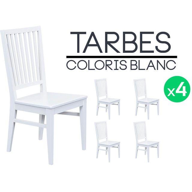 Altobuy Tarbes Lot De 4 Chaises Blanches Pas Cher Achat