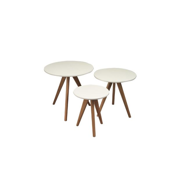 Tables gigognes rondes 40x45 coloris blanc - Baltic