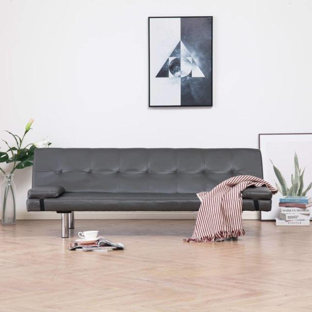 Vidaxl Canapé-lit avec deux oreillers Gris Similicuir
