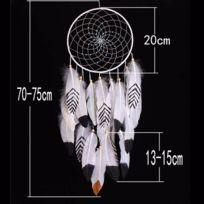 Lanitta - Attrape-rêve Indien blanc,noir, doré avec véritables plumes et perles