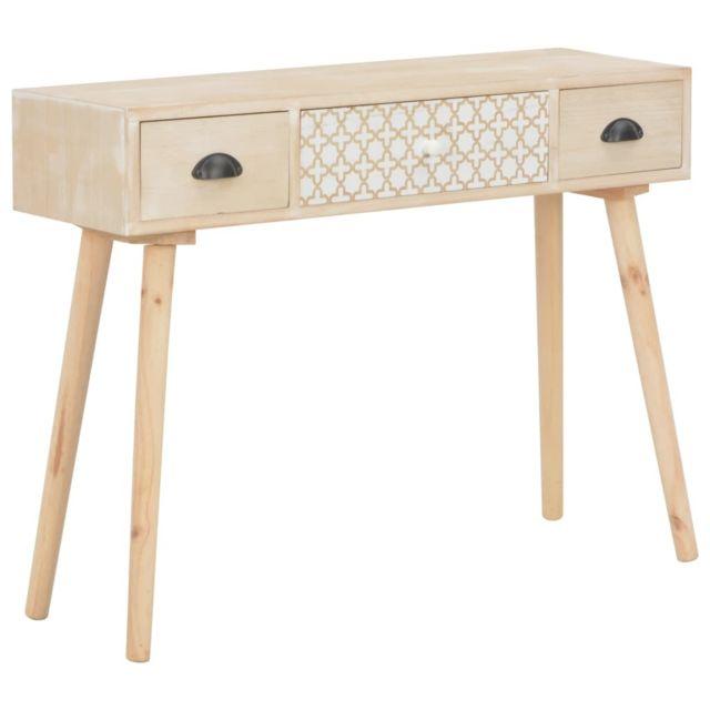 sublime Armoires & meubles de rangement ligne Yaoundé Table console avec 3 tiroirs 100x30x73 cm Bois de pin massif