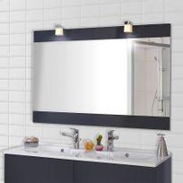 Creazur - Miroir avec applique lumineuse Mirosa - 120 cm gris