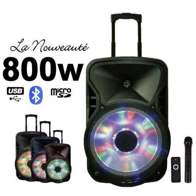 Ibiza Light Pack enceinte mobile amplifiée 800w avec batterie rechargeable autonomie 3-5h pa sono dj led sport hifi bar