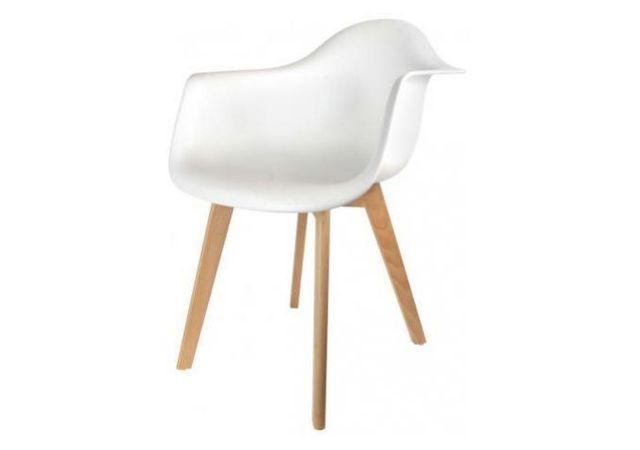 declikdeco chaise scandinave avec accoudoir blanc fjord pas cher achat vente chaises. Black Bedroom Furniture Sets. Home Design Ideas