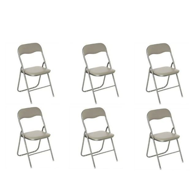 Admirable Atmosphera - Lot de 6 chaises pliantes taupe - pas cher Achat MW-39