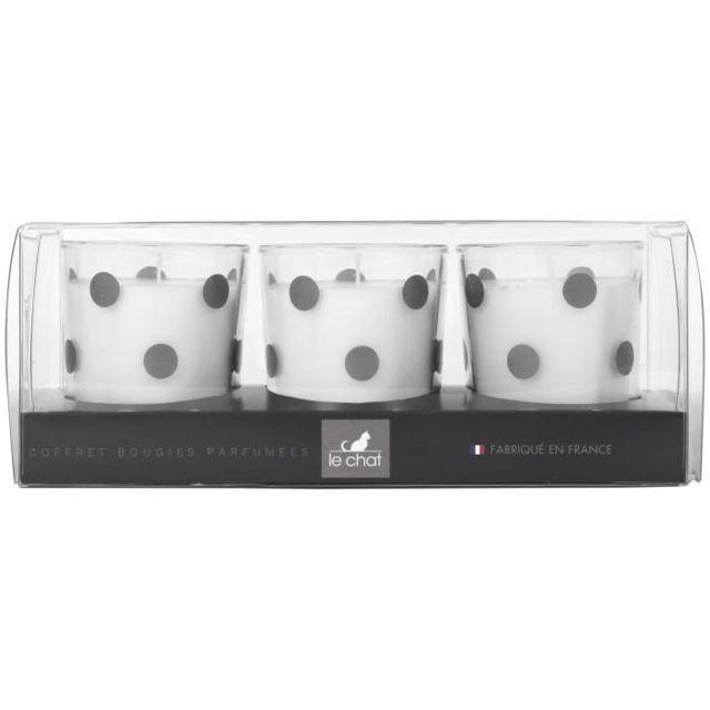 BOUGIE HORS ANNIVERSAIRE, Coffret de 3 bougies parfumées - 19,5x7,5 cm - Décors pois argent
