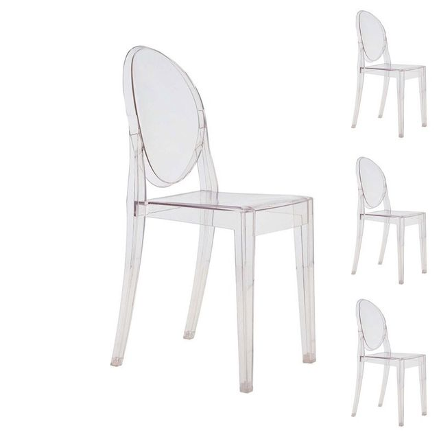 Tousmesmeubles Quatuor de chaises Transparent - Ghost