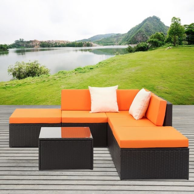 Aqua Occaz - Ensemble Salon de Jardin - Orange - 6 Pièces - Table en ...