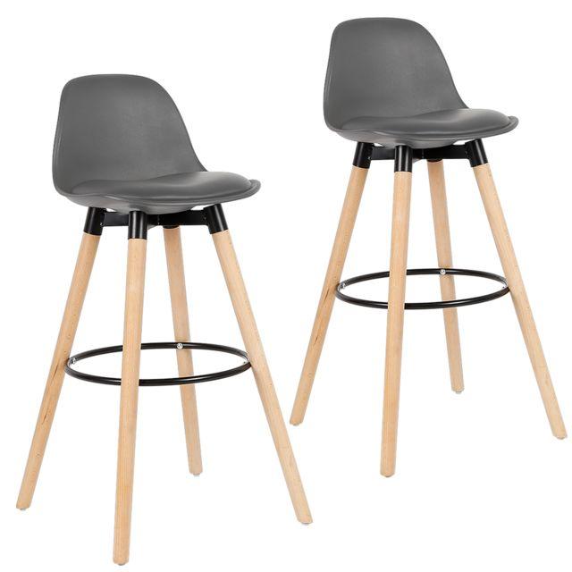 Chaise de bar tabouret chaise gris lot de 2
