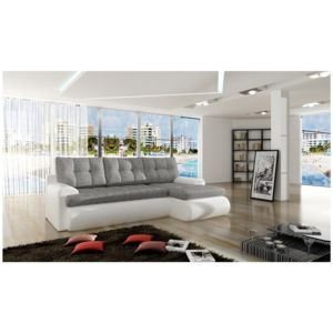 soldes chloe design canap d 39 angle convertible cipriano angle droit blanc et cendr 227cm. Black Bedroom Furniture Sets. Home Design Ideas