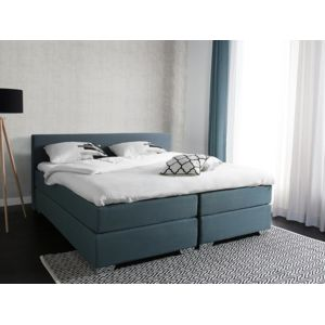 soldes beliani lit double boxspring lit 180x200 cm lit en tissu gris vert pr sident. Black Bedroom Furniture Sets. Home Design Ideas