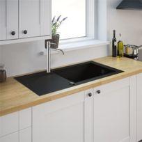 Générique - Evier de cuisine noir 1 cuve Xl reversible à encastrer Minéral composite et Mitigeur d evier