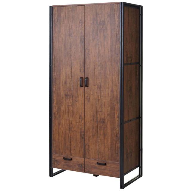 Mendler - Garde-robe   portemanteau   penderie   armoire Hwc-a27,  190x90x50cm d72253d482fb