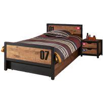 Ensemble lit 90x200cm avec chevet et tiroir-lit pour chambre à coucher  moderne coloris brun et noir