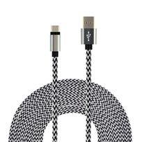 Hobby Tech - Câble tressé Nylon 3 mètres Usb-c vers Usb 2.0 - Argent