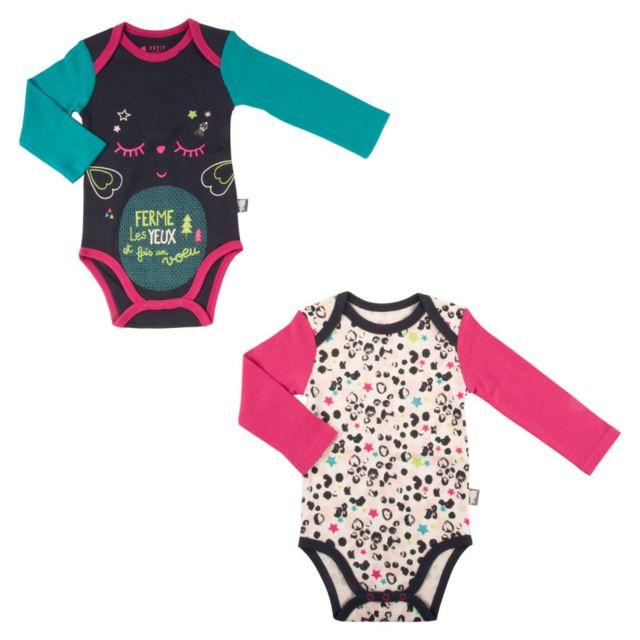 Petit Beguin - Lot de 2 bodies bébé fille manches longues Wish - Taille - 12 0b4381d5e08