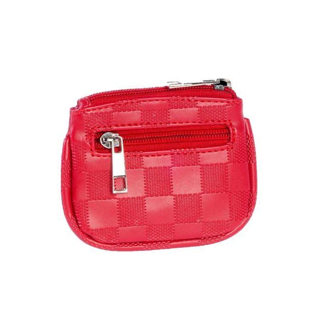 Cristo Porte-Monnaie plat 11 x 9 x 1cm - Collection Damiers - Rouge