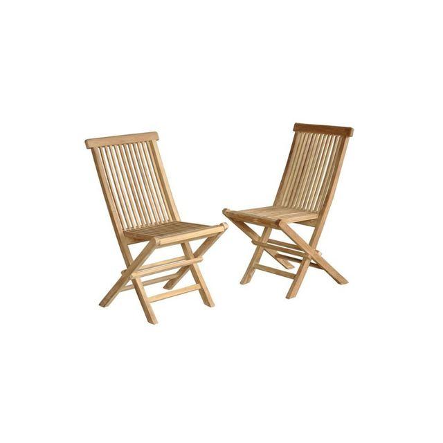 BOIS DESSUS BOIS DESSOUS Lot de 2 chaises de jardin en bois de teck pliantes