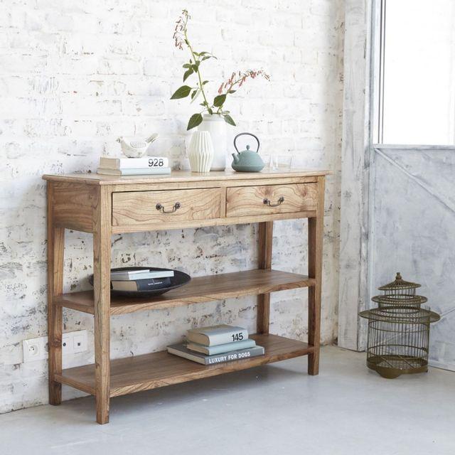 bois dessus bois dessous console en bois de mindy 2 tiroirs 120cm x 37cm x 90cm pas cher. Black Bedroom Furniture Sets. Home Design Ideas